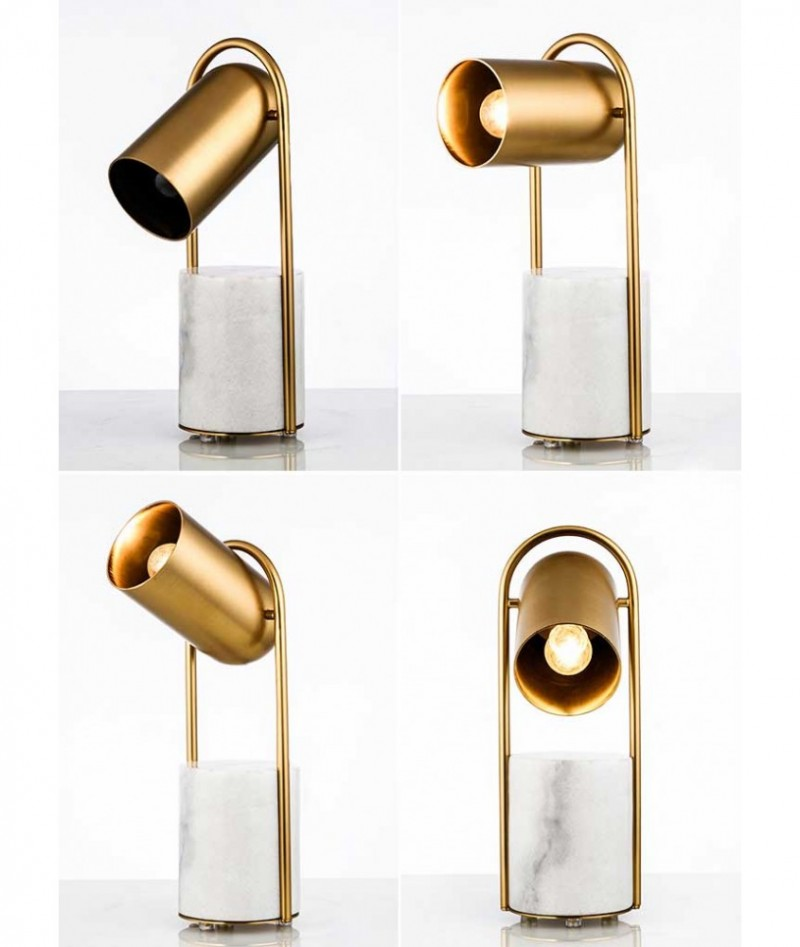 Postmodern brass metals marble luxury table lamp