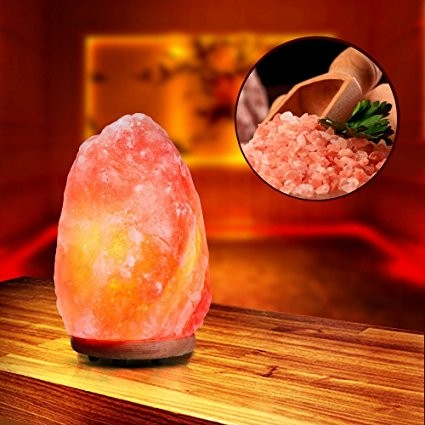 Natural Himalayan Rock Salt Lamps Wood Table Lamp